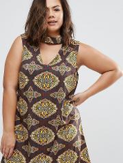 Plus Dress With Cut Out Neckline  Scarf Print