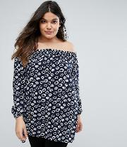 Plus Off The Shoulder Tunic In Inky Leopard Print