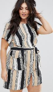 Plus Stripe Shift Dress With Belt
