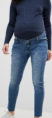 Maternity Over The Bump Ankle Graser Skinny Jean With Raw Hem And Removable Band