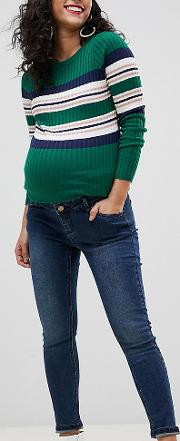 Maternity Over The Bump Ankle Graser Skinny Jean With Removable Band