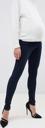 maternity over the bump skinny jean with removable  band
