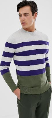 Copinsay Striped Crew Neck Knitted Jumper
