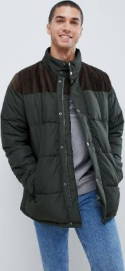 spean large padded jacket in green
