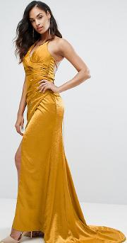 Drape Satin Gown With Strappy Back