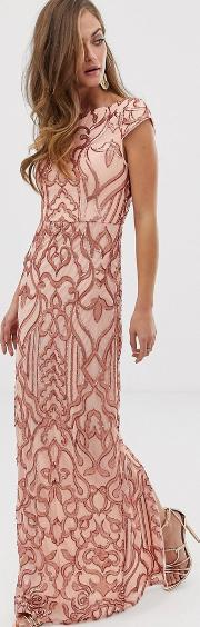 Embellished Patterned Sequin Maxi Dress With Cap Sleeve Rose Gold