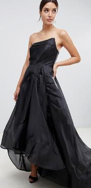 full maxi dress with origami bust detail in black