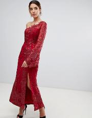 One Shoulder Embroide Lace Midi Dress In