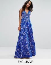 plunge full maxi dress in all over lace