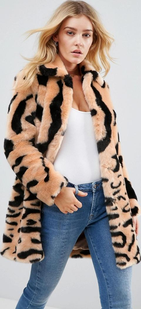 e08b6b33e leopard mix faux fur coat. Follow barneys originals Follow asos