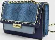 Snake Mix Cross Body Bag With Chain Strap