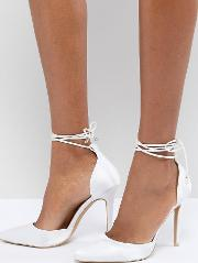 Bridal Leila Ivory Satin Ankle Tie Court Shoes