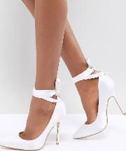 bridal witch hazel ivory ankle tie court shoes