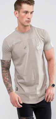 muscle fit  shirt in stone with sleeve stripe