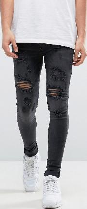 super skinny jeans with distressing  black