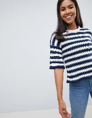 chunky stripe knit jumper bell sleeve