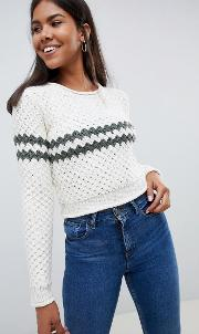 chunky stripe knitted jumper