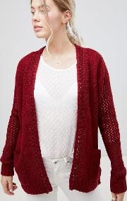 Plaited Neck Cardigan