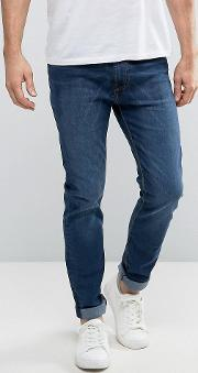 stonewash tapered fit jeans