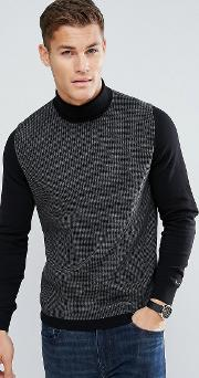 roll neck dog tooth jumper