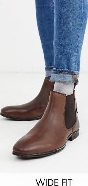 Wide Fit Leather Chelsea Boot