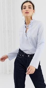 Light Blouse With Laced Front