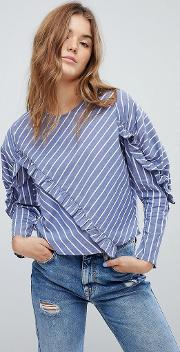Asymmetric Ruffle Stripe Blouse