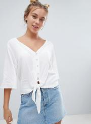 button down knot front blouse in white