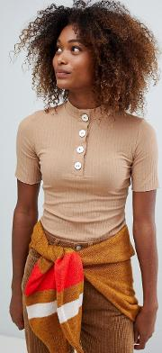 Button Front High Neck Top