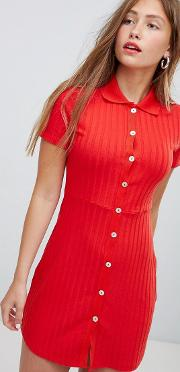 button front short sleeved dress in red