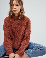 cable knitted balloon sleeve jumper