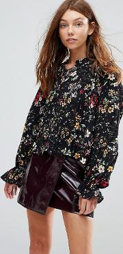 ditsy floral high neck boho blouse