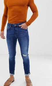 Join Life Skinny Jeans Mid With Knee Rip And Abrasions