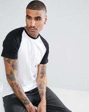 Raglan T Shirt With Black Sleeve In White