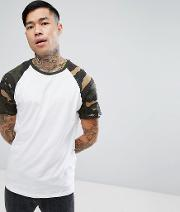 Raglan T Shirt With Camo Sleeves In White