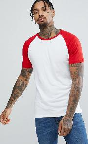 Raglan T Shirt With Red Sleeve In White