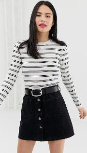 Ribbed Striped Long Sleeve Top