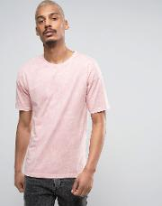 oversized t shirt in pink acid wash