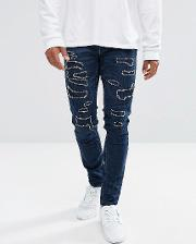 Skinny Jeans Dark With Distressing