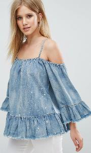 cold shoulder denim top