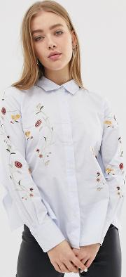 In Bloom Floral Embroidered Shirt