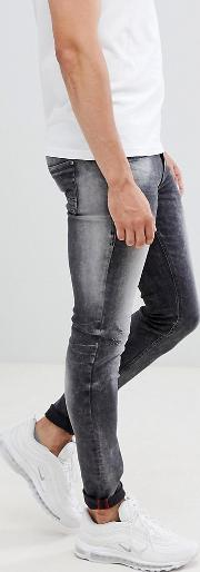distressed super skinny jeans  washed black