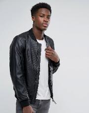 Faux Leather Perforated Bomber