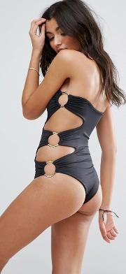 ring cut out swimsuit