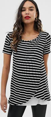Striped Wrap Over Top With Short Sleeve