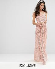 bodyfrock cami strap maxi dress in allover lace