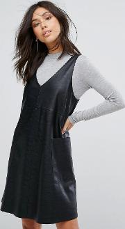 Leather V Neck With Jersey Polo  Dress