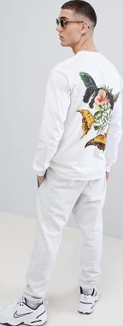 french montana jungle long sleeve  shirt in white with back print