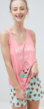 'you are one in  melon' pyjama shorts set