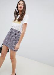 adore check skirt with zip detail